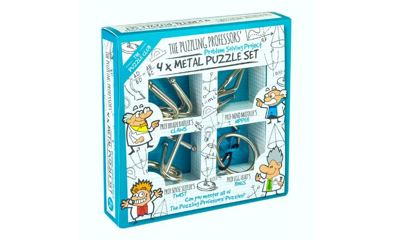a box containing 4, mini metal puzzles