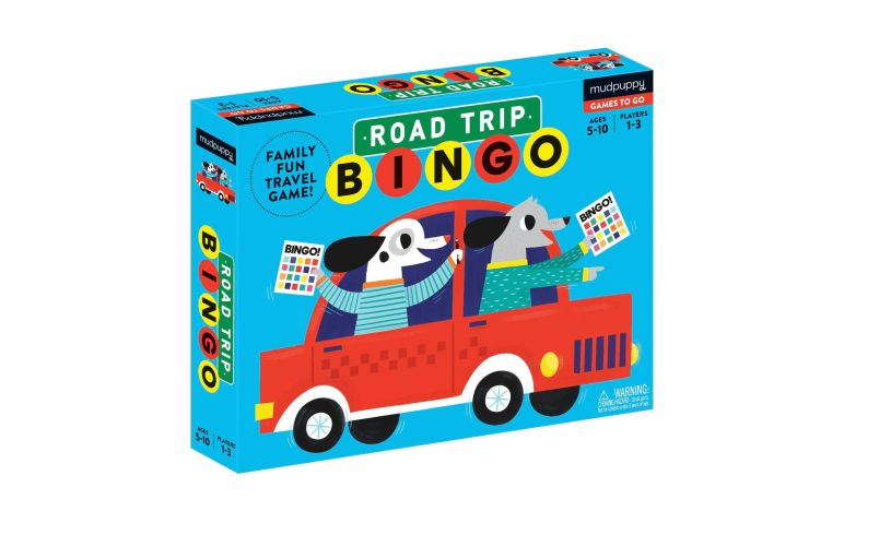 box for road trip bingo, with two cartoon dogs looking out the car window
