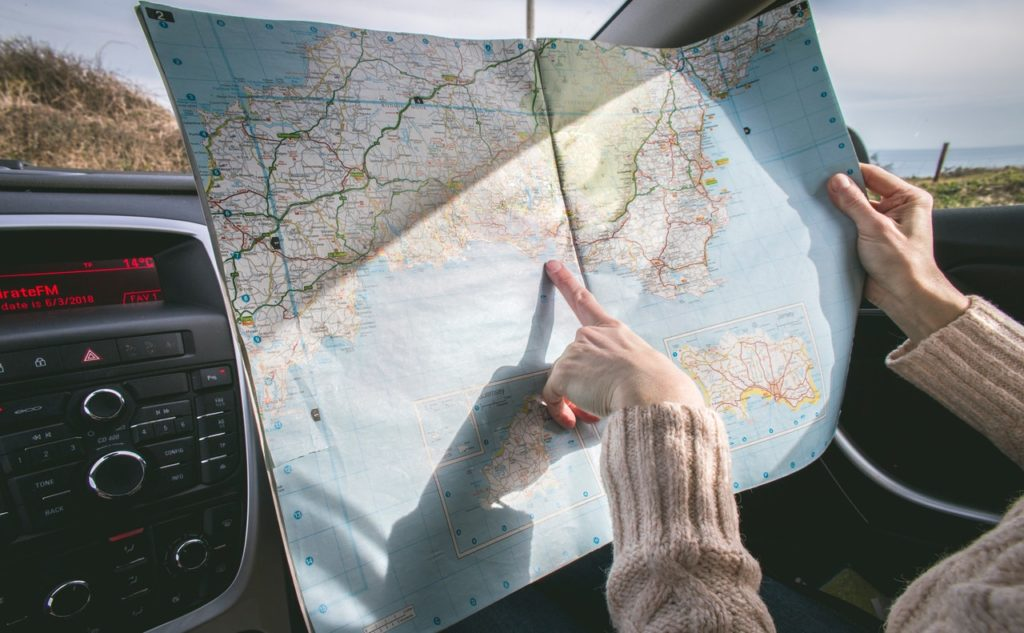 Getting out the map on a long car journey