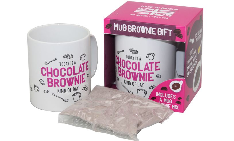 pink and white mug for the chocolate brownie in a mug mix, including the pink packaging.