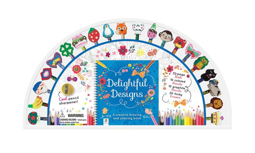 the delightful designs activity set displaying the range of fun pencils