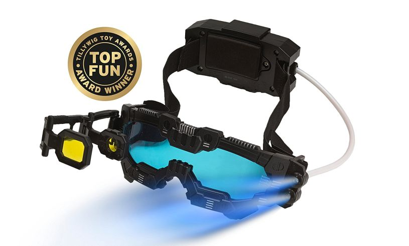 the spy mission, night vision goggles with the blue LED light shining out of them