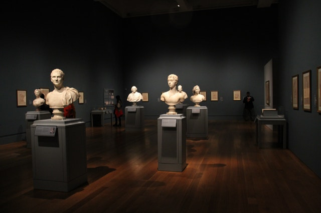 room of busts at a museum