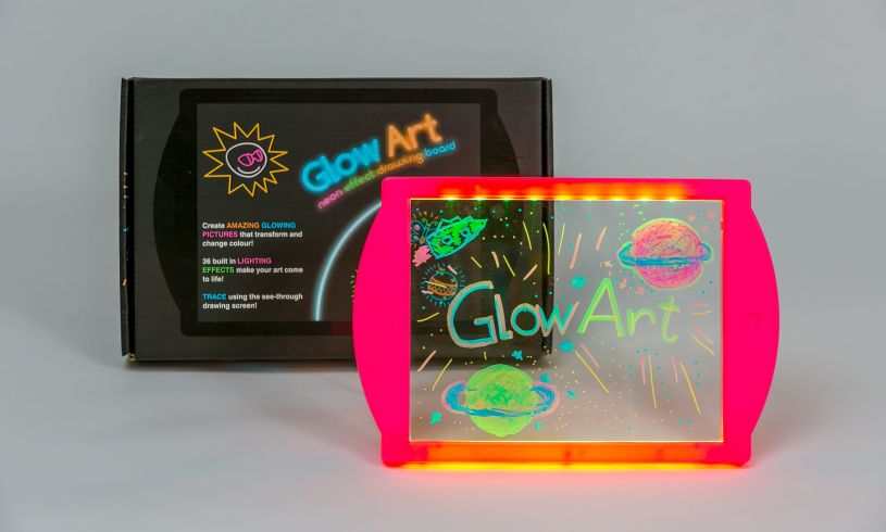 the glow art drawing board with writing on it saying 'glow art'