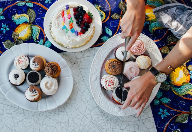 a table of cakes