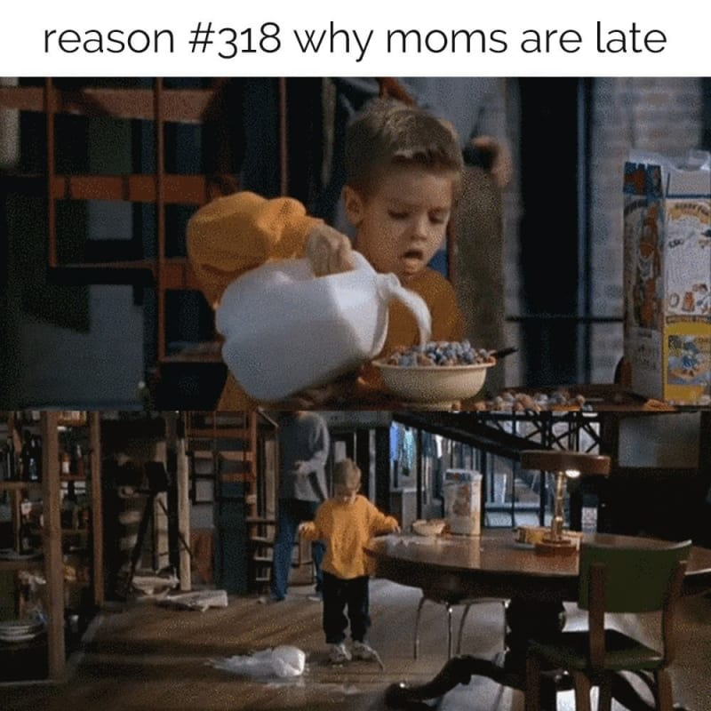 meme about being late after breakfast